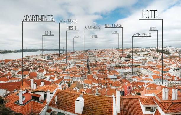 looking for the best accomodation - portugal map imagens e fotografias de stock