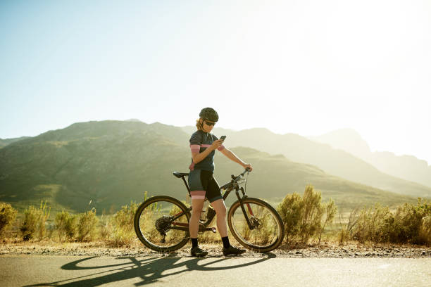 Looking for the best off-road route online stock photo
