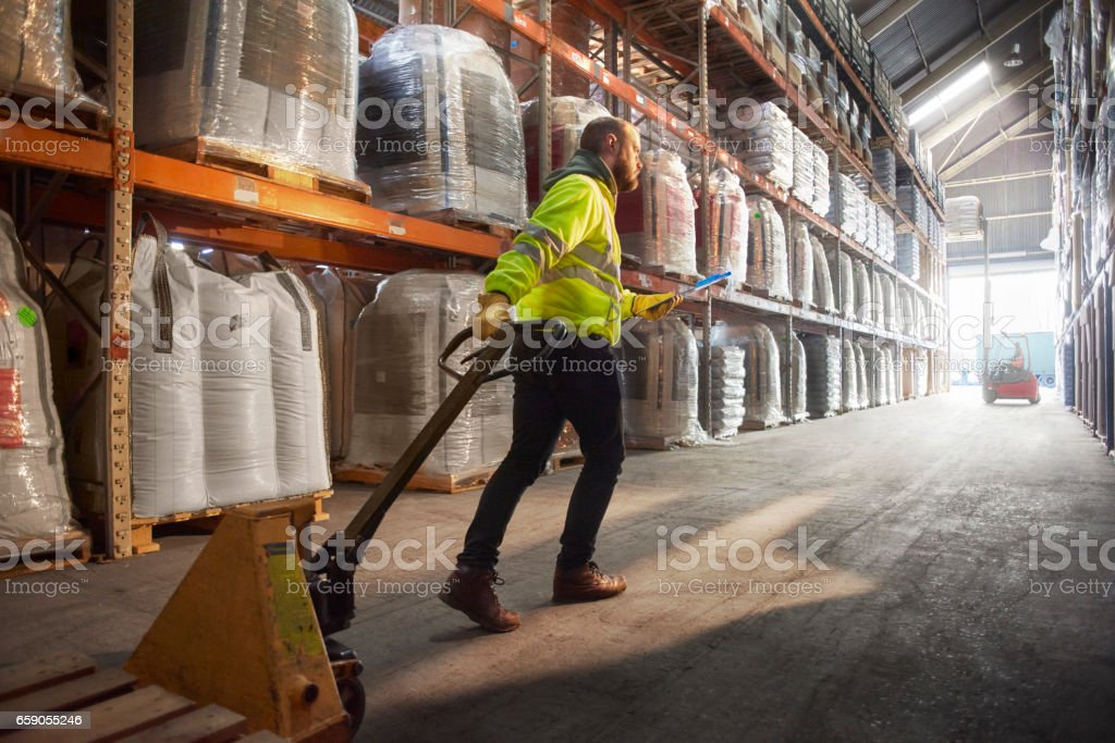 looking for the right pallet royalty-free stock photo