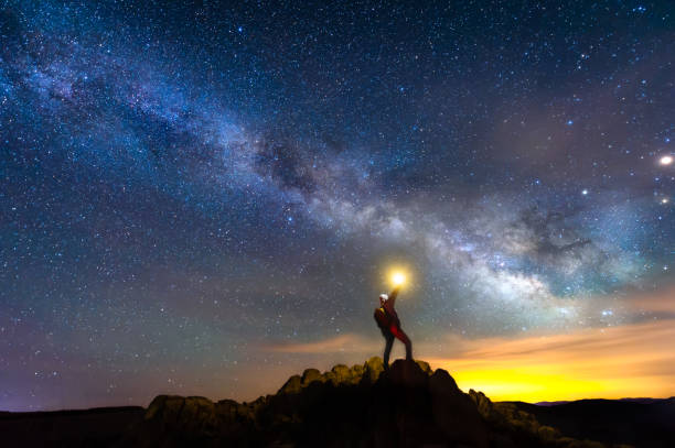 Looking for the way to the galaxy stock photo