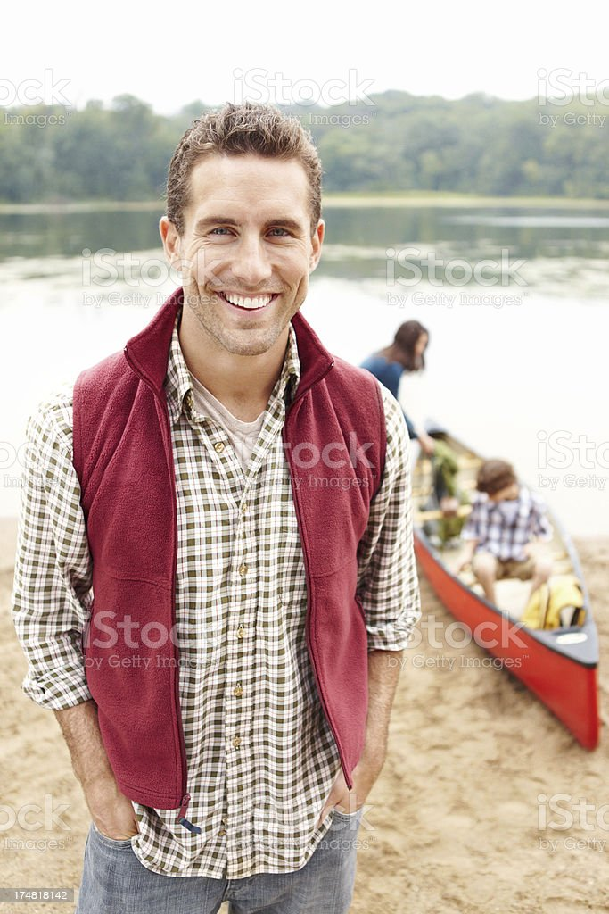 Looking forward to canoeing with his family royalty-free stock photo