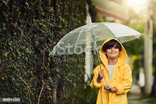 Cropped shot of an adorable little boy in the rain outside