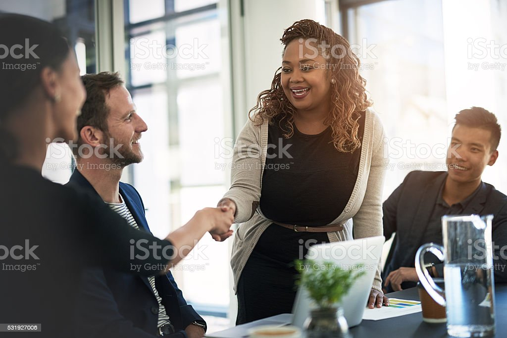 Looking forward to working together stock photo
