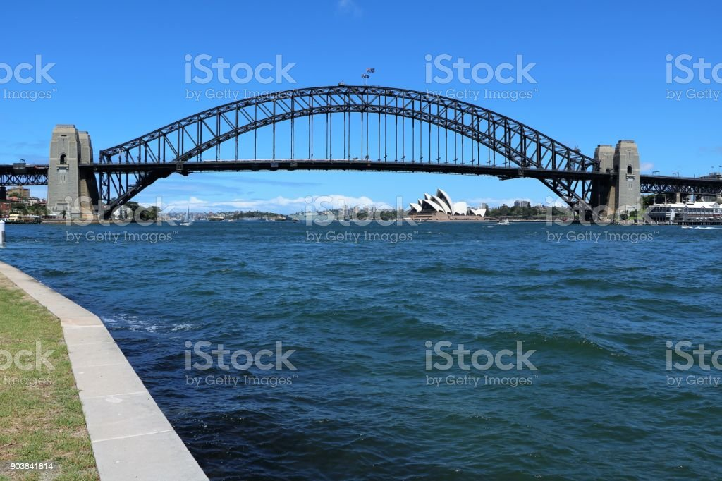 Looking from Lavender Bay to Harbour Bridge in Sydney, New South Wales Australia stock photo