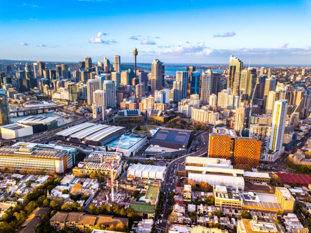 looking from the south toward the Sydney city skyline from Ultimo stock photo