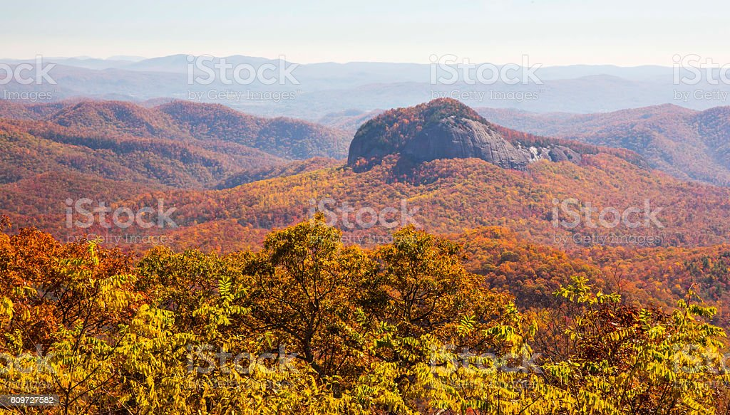 Looking Glass Rock, Fall Foliage, View from Blue Ridge Parkway stock photo