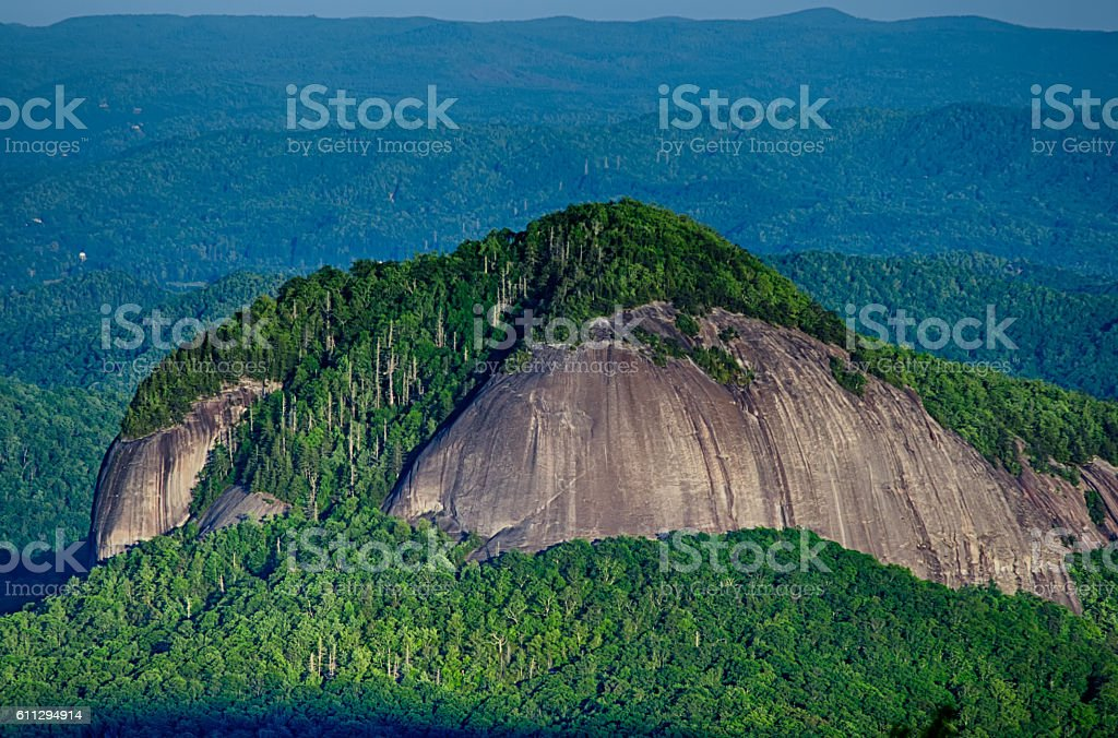 looking glass rock mountain in north carolina stock photo