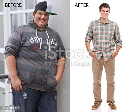 Before and after shot of a young man's weight loss