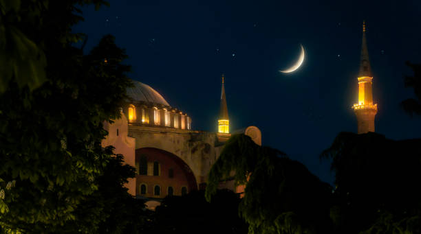Looking Hagia Sophia (Istanbul) in front of amazing crescent. stock photo