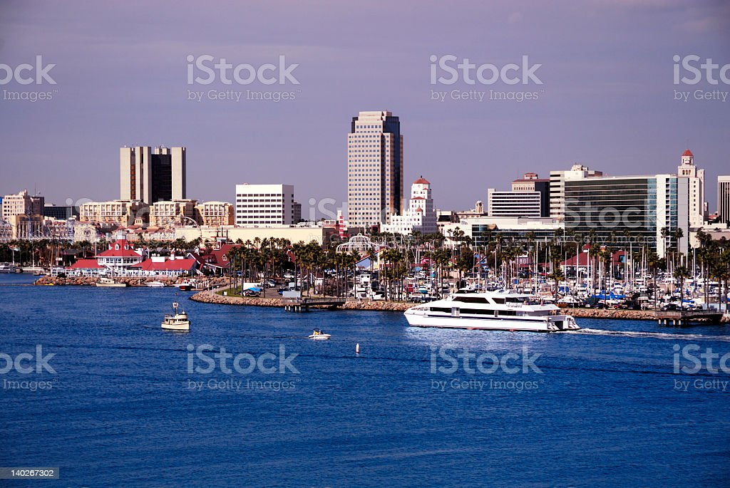 Looking in from the ocean at the marina royalty-free stock photo