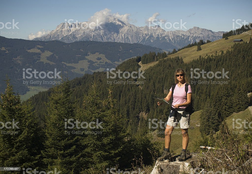 Looking in the map royalty-free stock photo