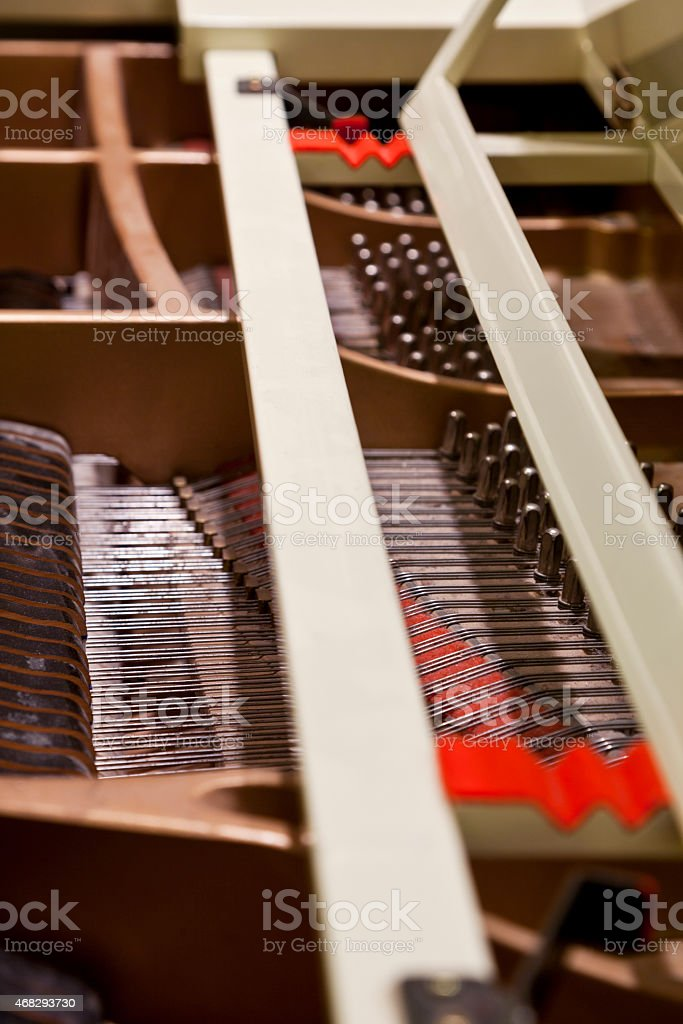 Looking Inside a Grand Piano stock photo