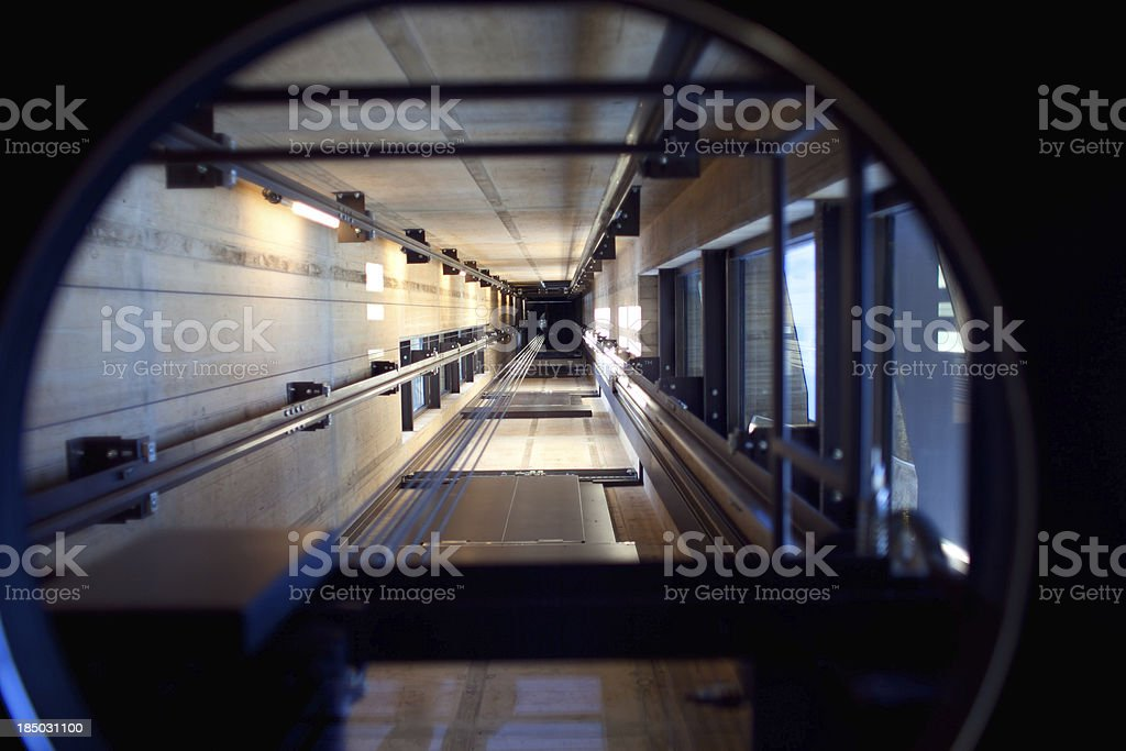 Looking into an Elevator Shaft royalty-free stock photo