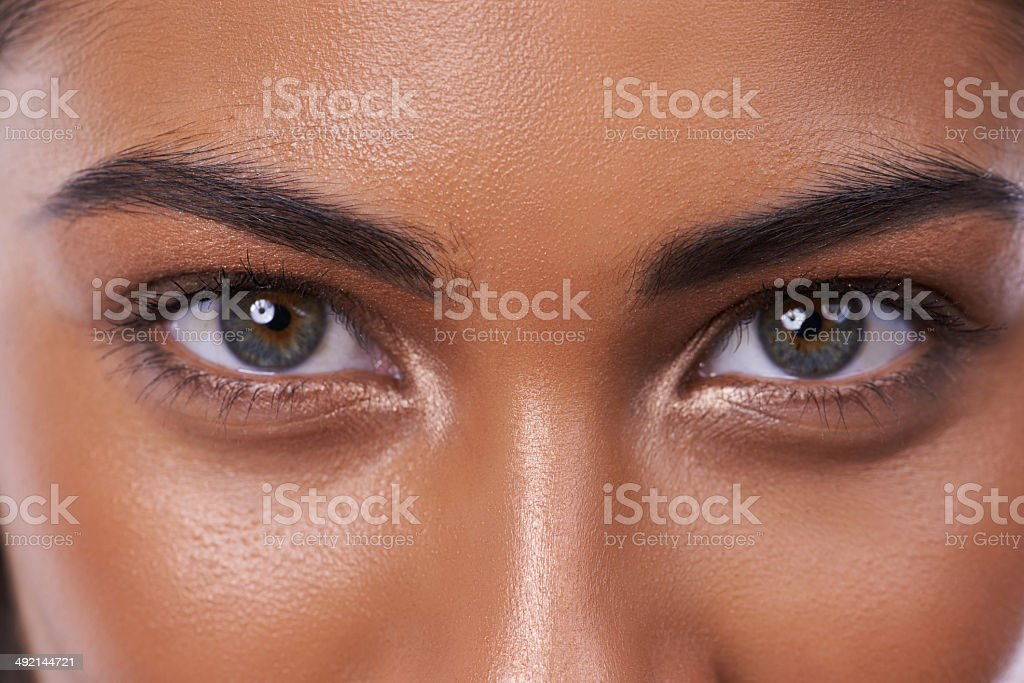 Looking into the eyes of beauty stock photo