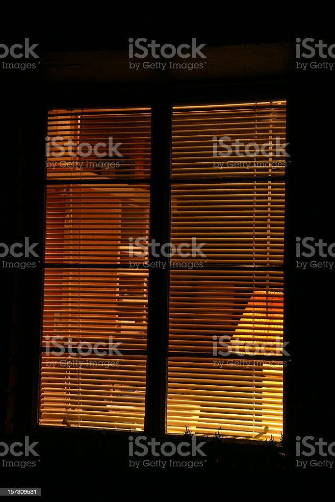 Looking Into The Home Office At Night stock photo