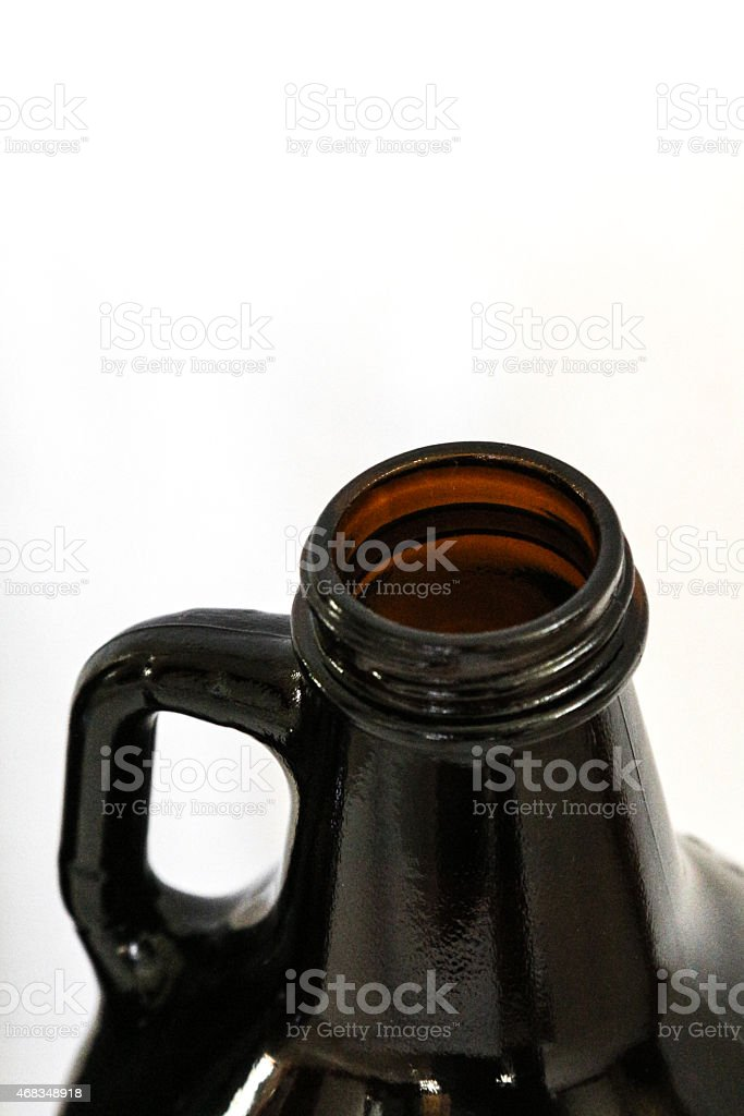 Looking into the opening of a growler stock photo