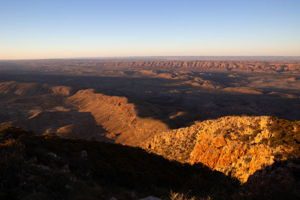 Looking North East over the West Macdonnell Ranges from the top of mount Sonder stock photo