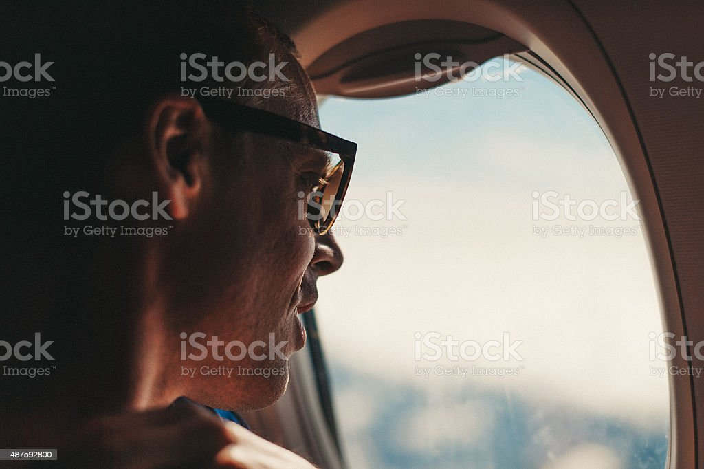 Looking out a airplane window royalty-free stock photo