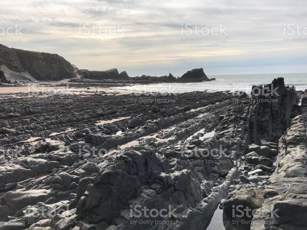 Looking out at Hartland Quay stock photo