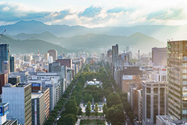 looking out at odori park from sapporo tv tower in sapporo, hokkaido, japan. - sapporo stock photos and pictures