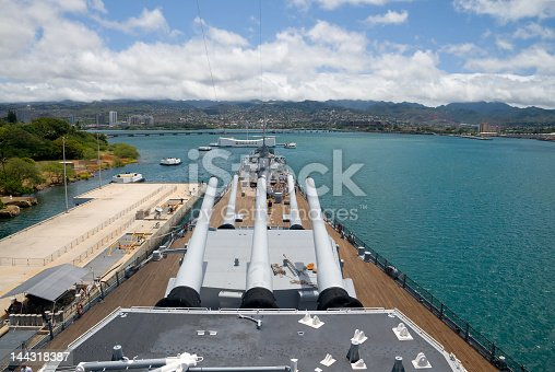 View from the top deck of the  U.S.S. Missouri in Pearl Harbor, Hawaii. The Arizona Memorial is also visible.