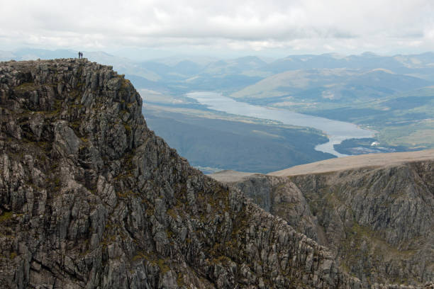 Looking out from Ben Nevis summit stock photo