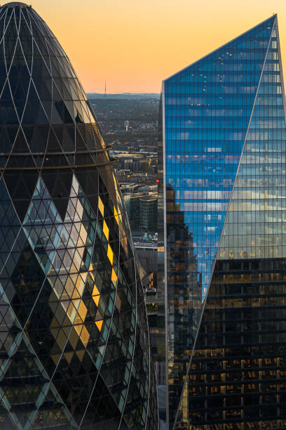 Looking out from the top of Heron Tower, London stock photo