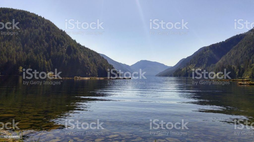 Looking out over a lake in a valley on a sunny day in summer stock photo
