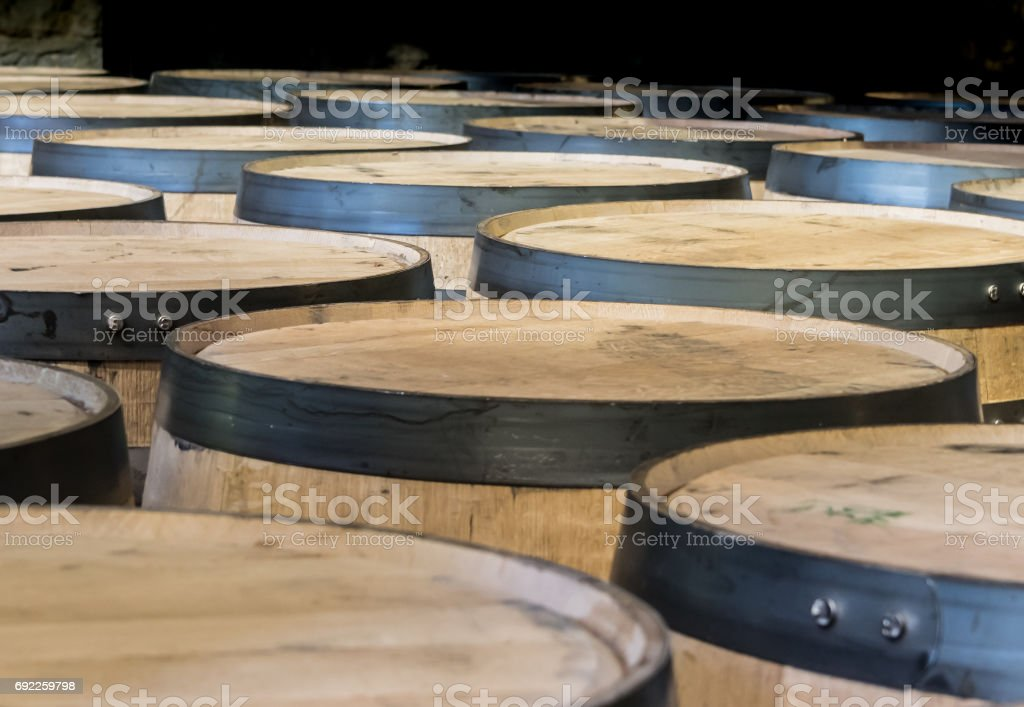 Looking Out Over Barrels in Storage stock photo