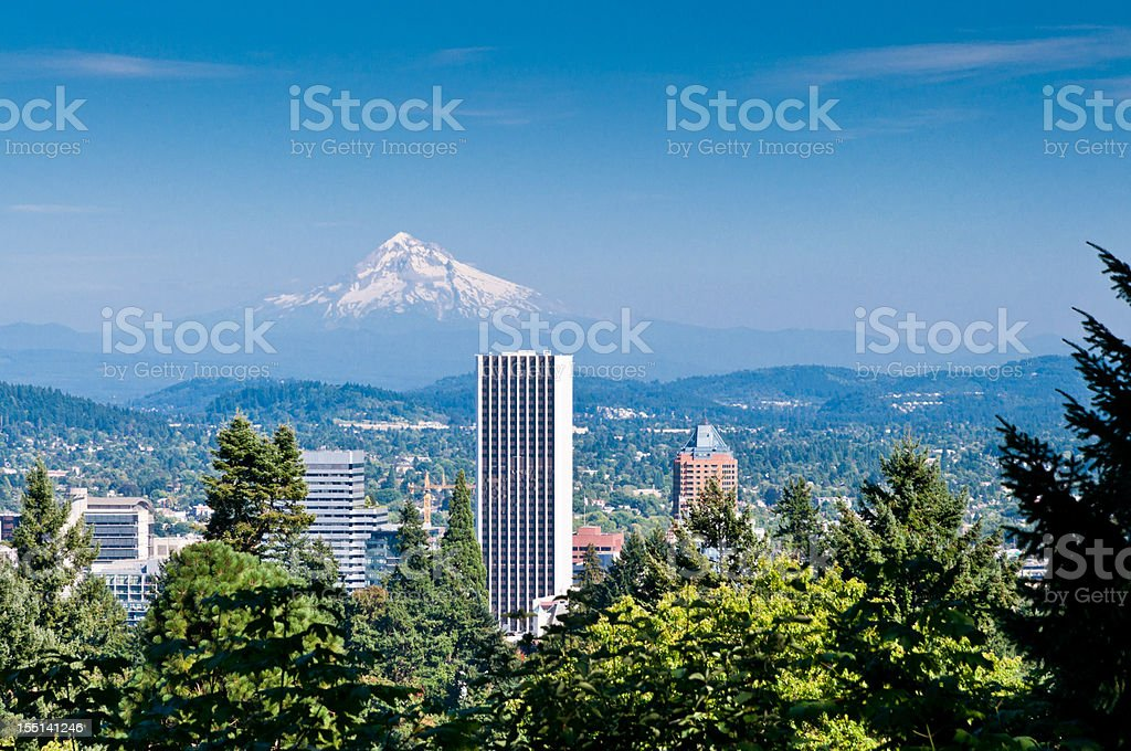 Looking out over Portland Oregon stock photo