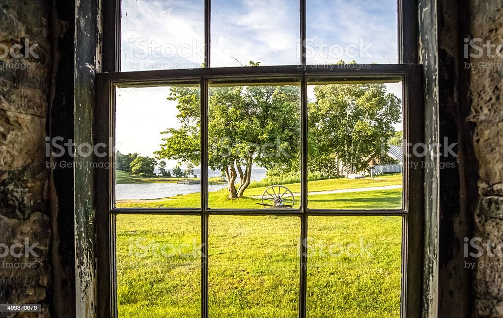 Looking Out The Window At A Pastoral Rural Scene. stock photo