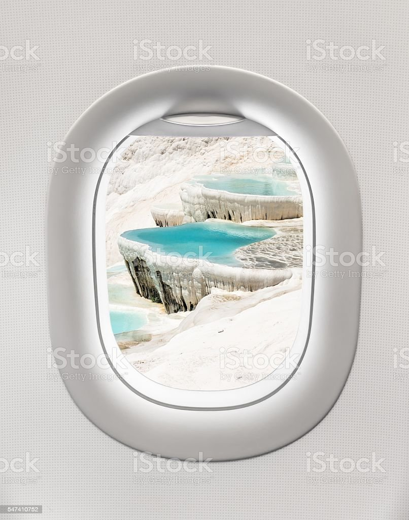 Looking out the window of a plane to the Pamukkale stock photo
