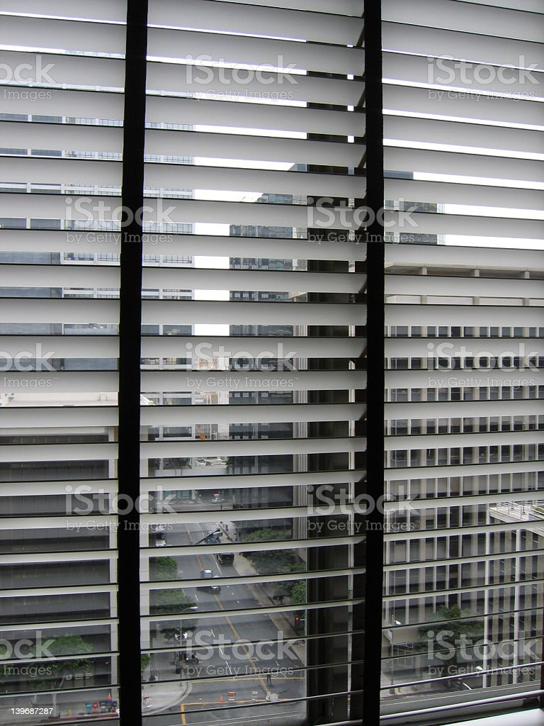 looking out the windows in downtown LA royalty-free stock photo