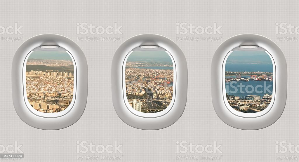 Looking out the windows of a plane to Istanbul stock photo