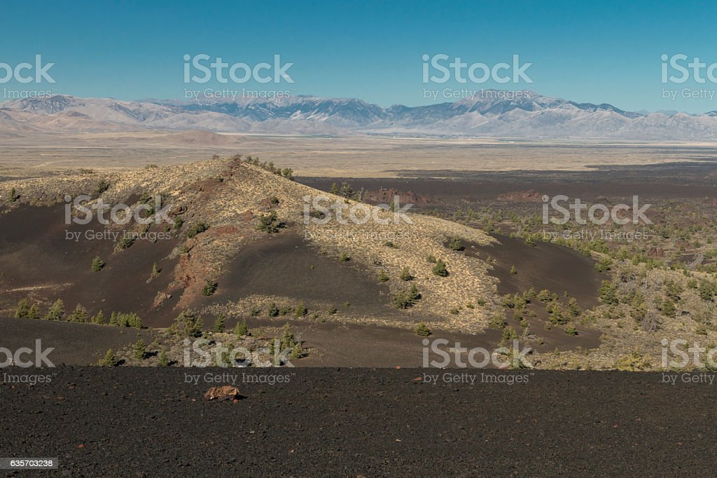 Looking over ancient lavaflows at Craters of the Moon. royalty-free stock photo