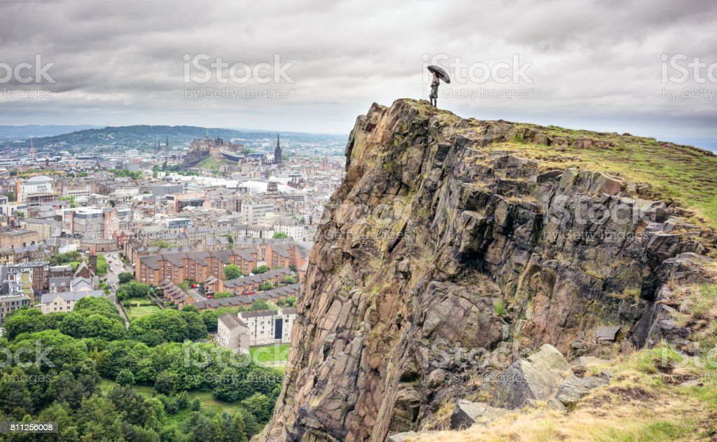 Looking over Edinburgh in the rain stock photo
