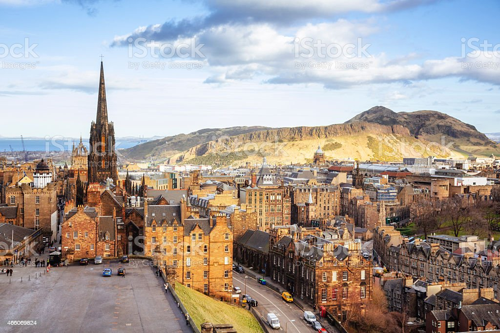 Looking Over Edinburgh Old Town To Arthurs Seat stock photo