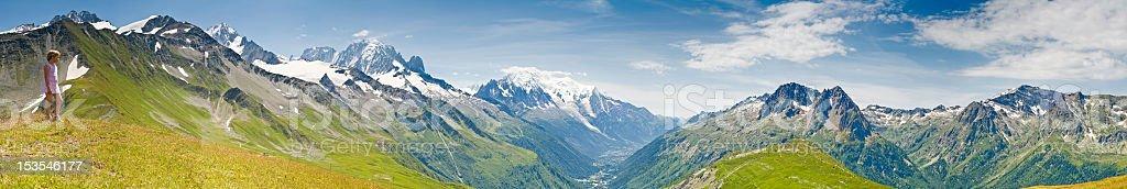 Looking over Mont Blanc Chamonix stock photo