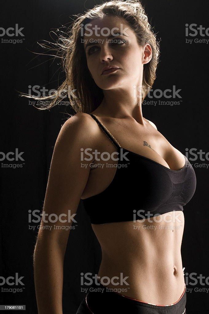 Looking over shoulder stock photo