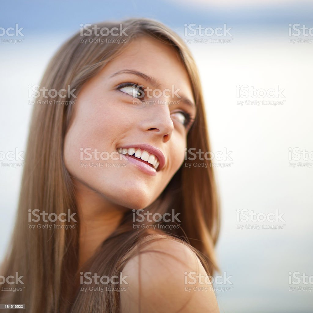 Looking over shoulder royalty-free stock photo