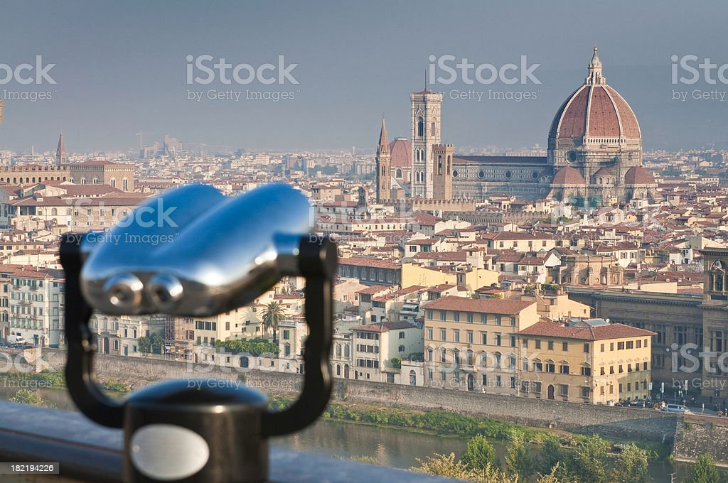 Looking over the Duomo Florence landmarks city rooftops Tuscany Italy royalty-free stock photo