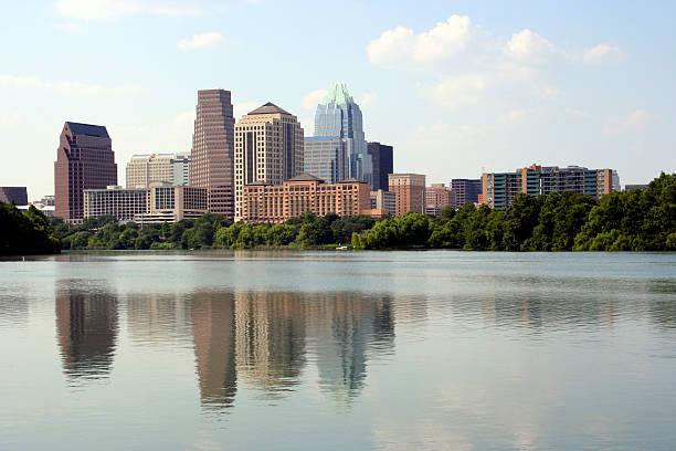 Looking over the lake to downtown Austin in Texas stock photo