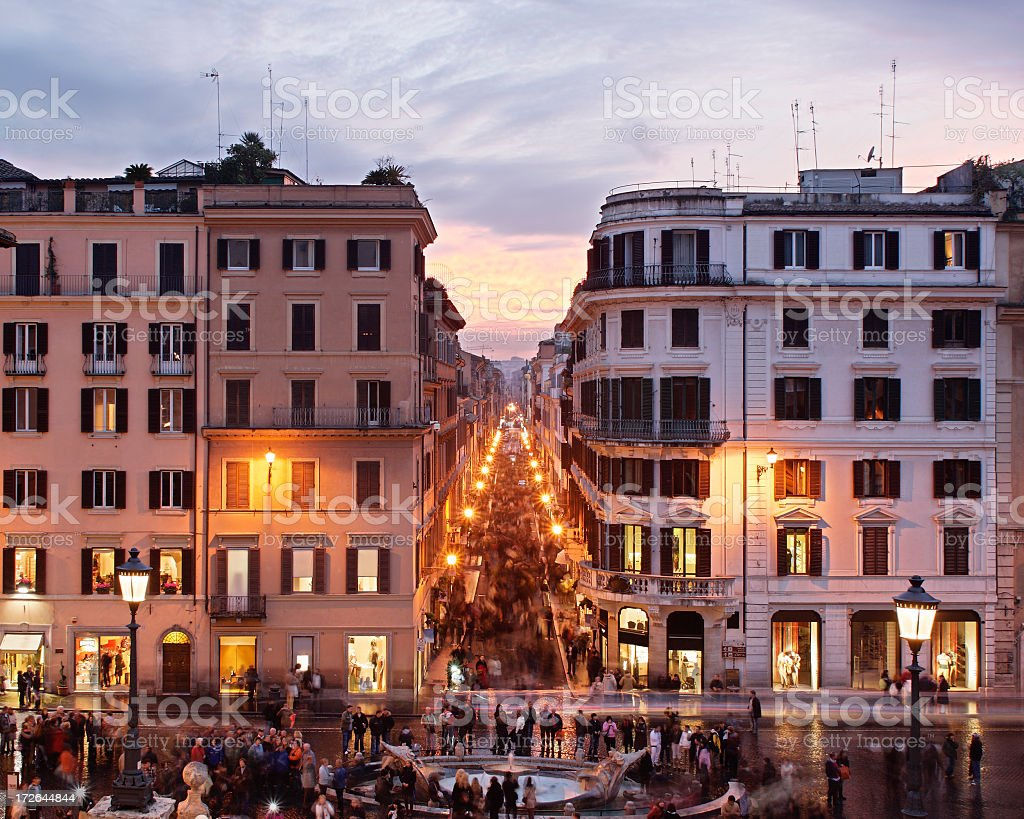 Looking over the Piazza di Spanga stock photo