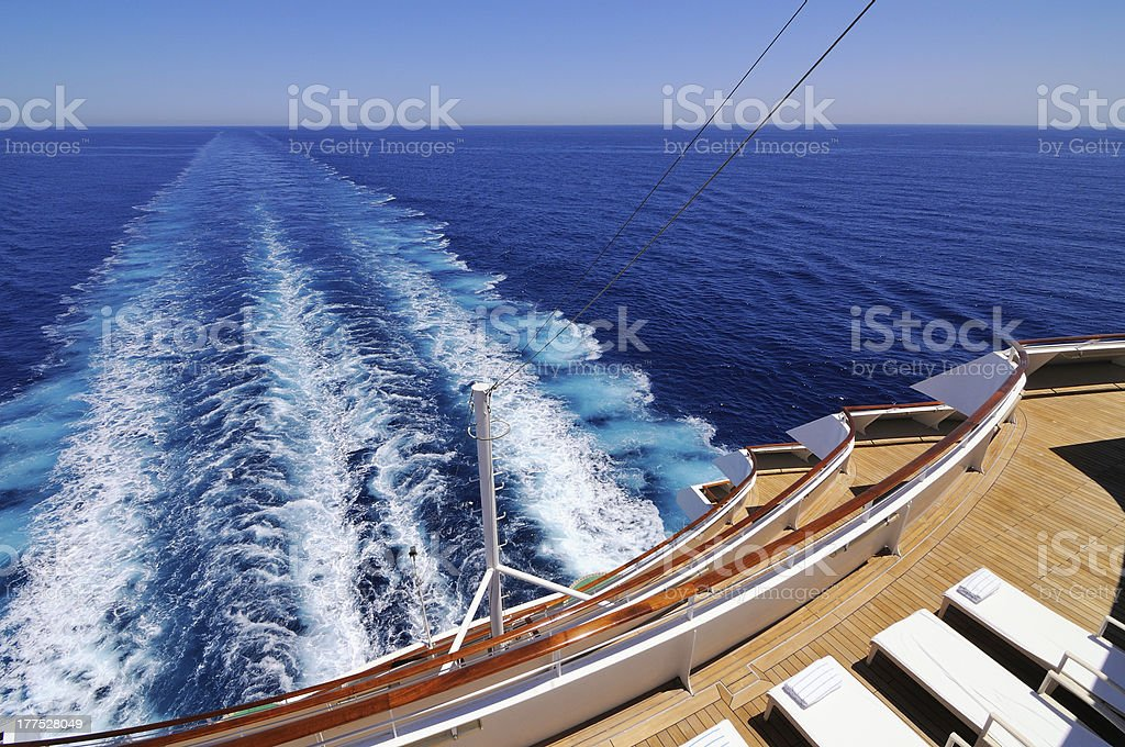 Looking over the sea from aboard a cruise ship stock photo
