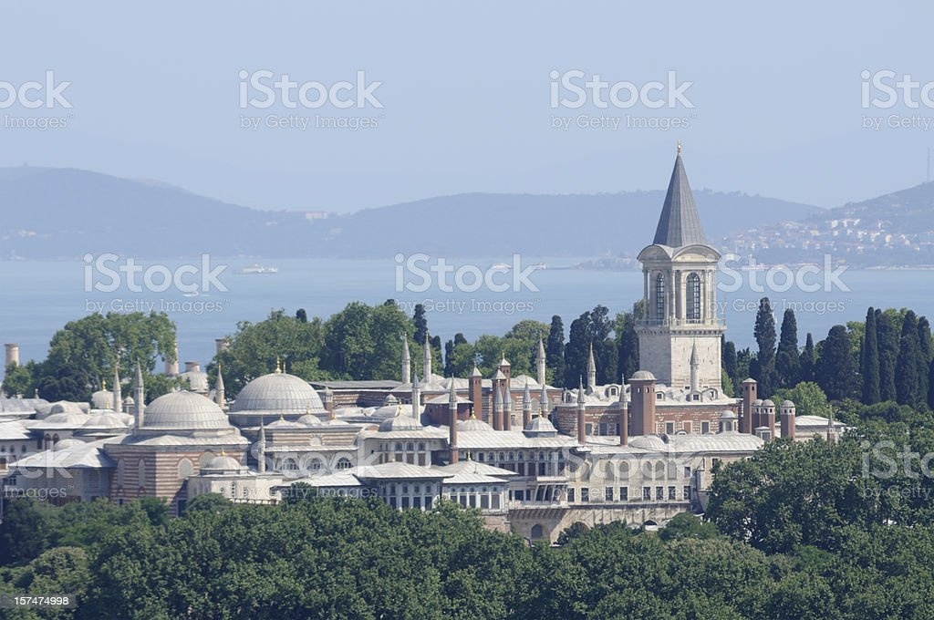 Looking over Tokapi palace in Istanbul stock photo