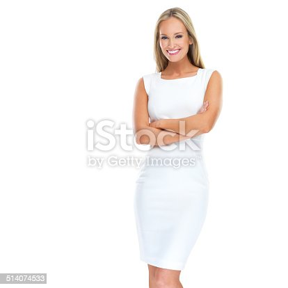 Studio portrait of a beautiful young woman standing against a white background