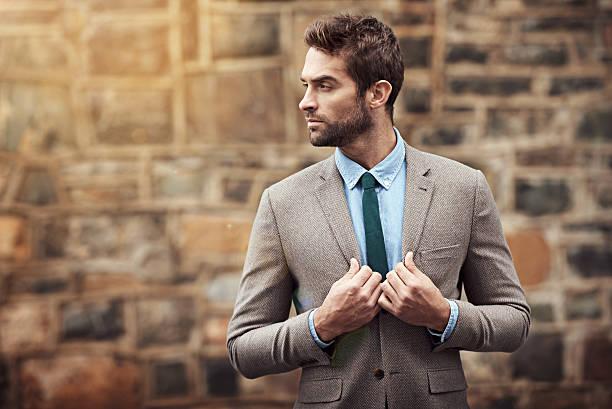 looking slick - men blazer stockfoto's en -beelden