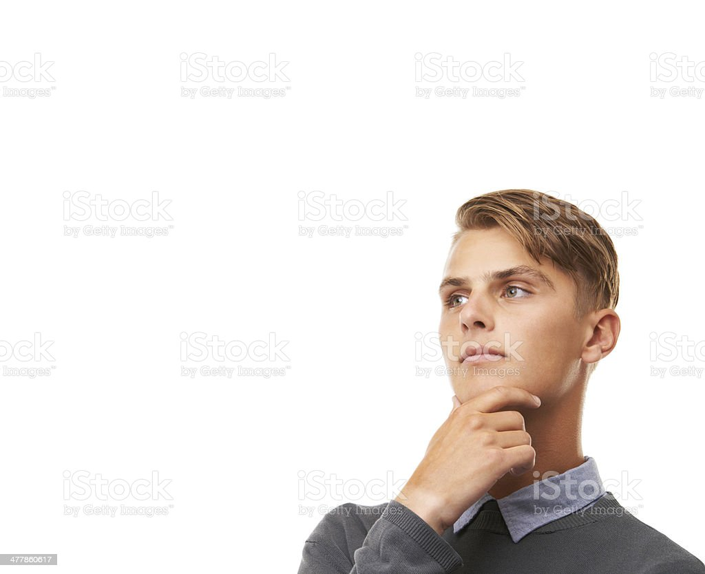 Looking thoughtful and trendy royalty-free stock photo