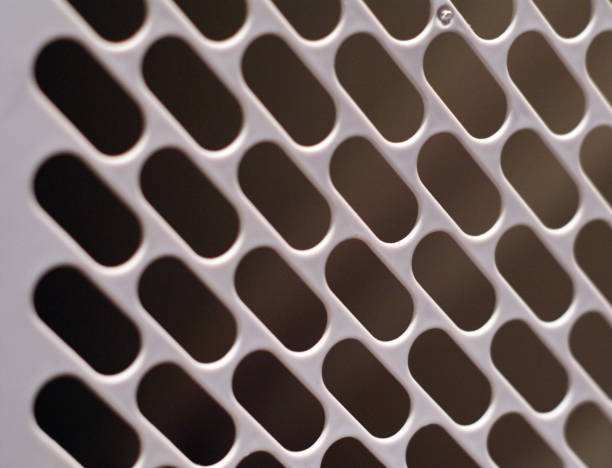 Looking through a baby gate closeup with oval pattern contrast effect stock photo