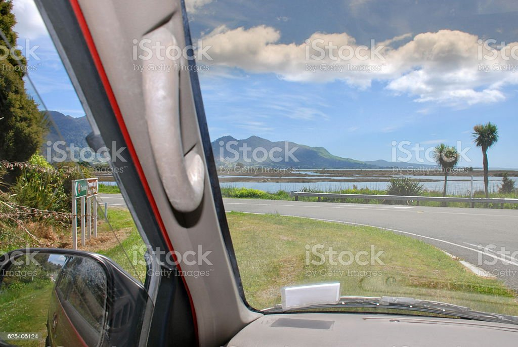 Looking through a Car Windscreen to a New Zealand View stock photo